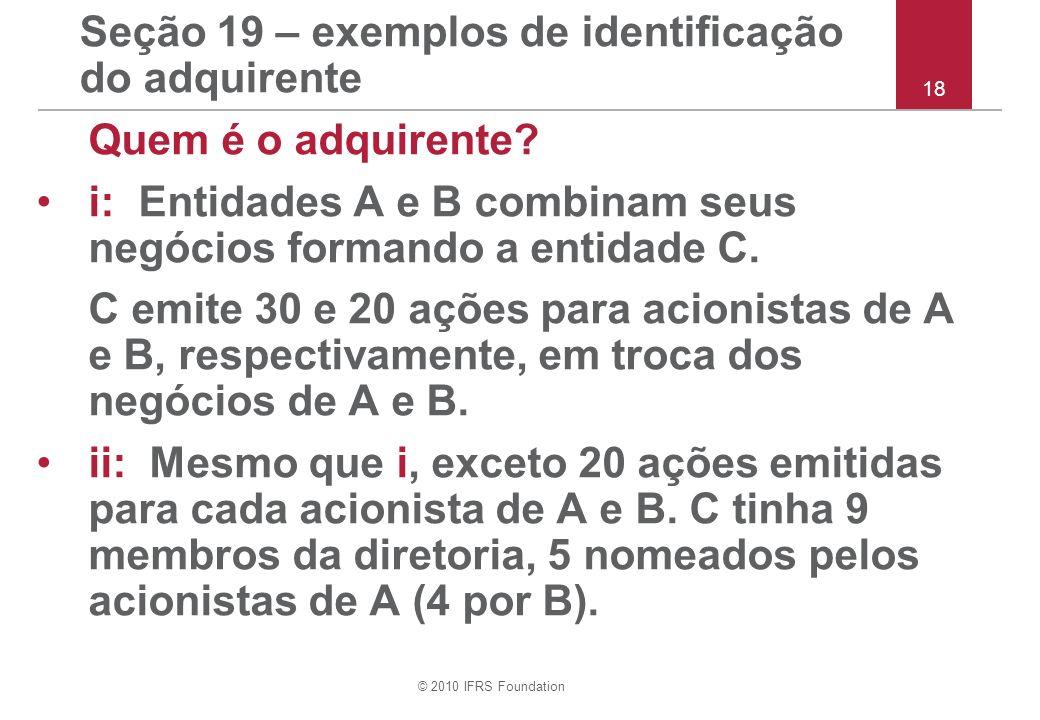 Seção 19 – exemplos de identificação do adquirente