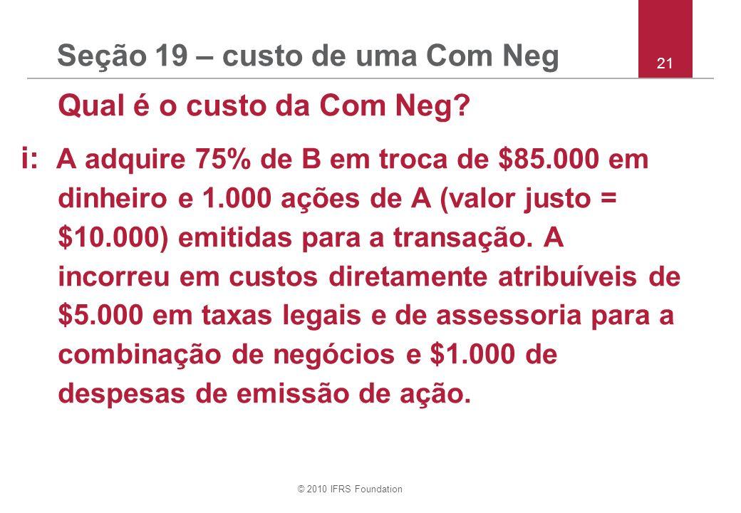 Seção 19 – custo de uma Com Neg