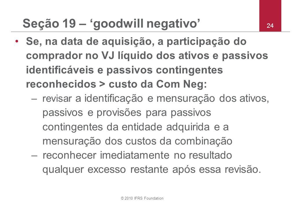 Seção 19 – 'goodwill negativo'