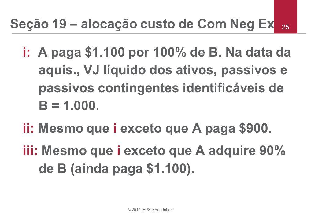 Seção 19 – alocação custo de Com Neg Ex