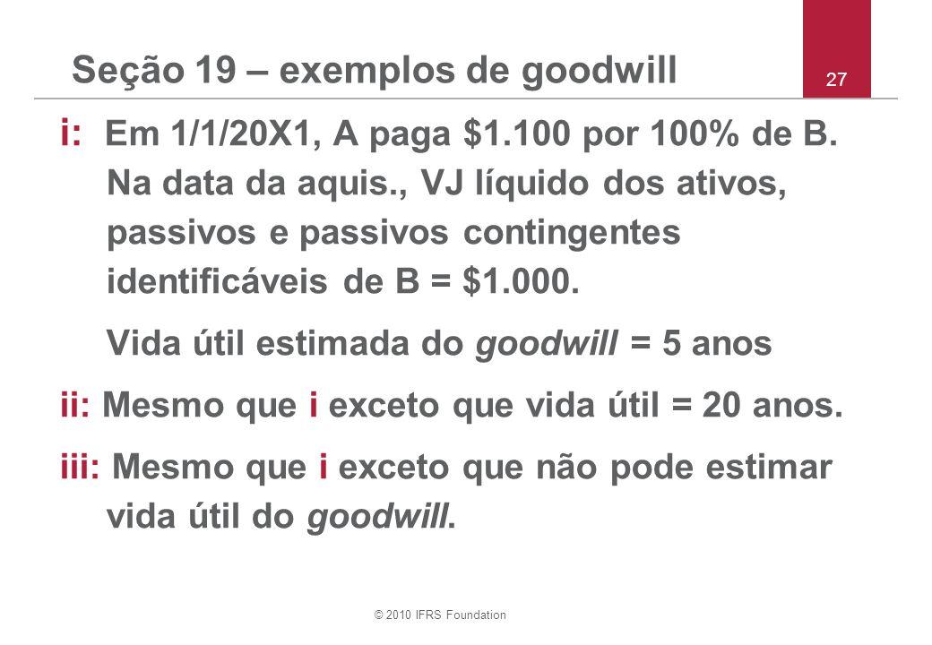 Seção 19 – exemplos de goodwill