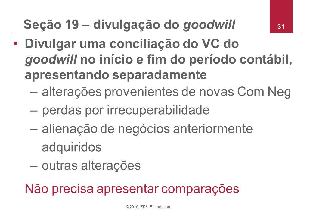 Seção 19 – divulgação do goodwill