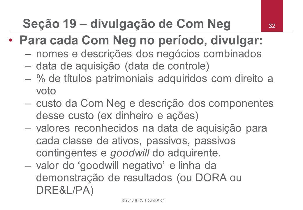 Seção 19 – divulgação de Com Neg