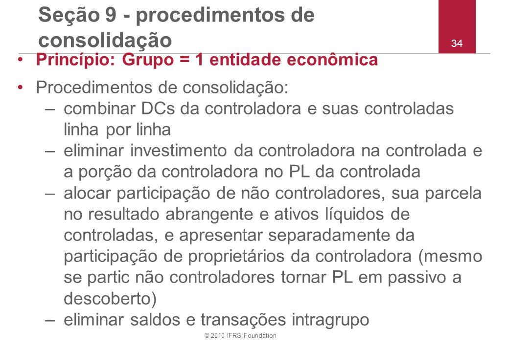 Seção 9 - procedimentos de consolidação