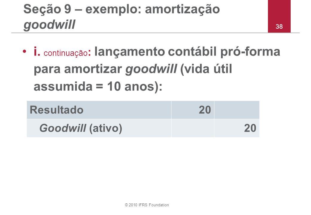 Seção 9 – exemplo: amortização goodwill