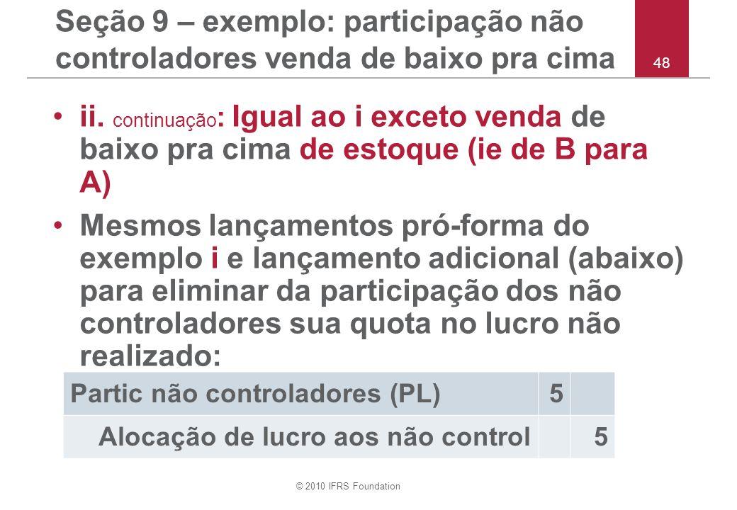Seção 9 – exemplo: participação não controladores venda de baixo pra cima