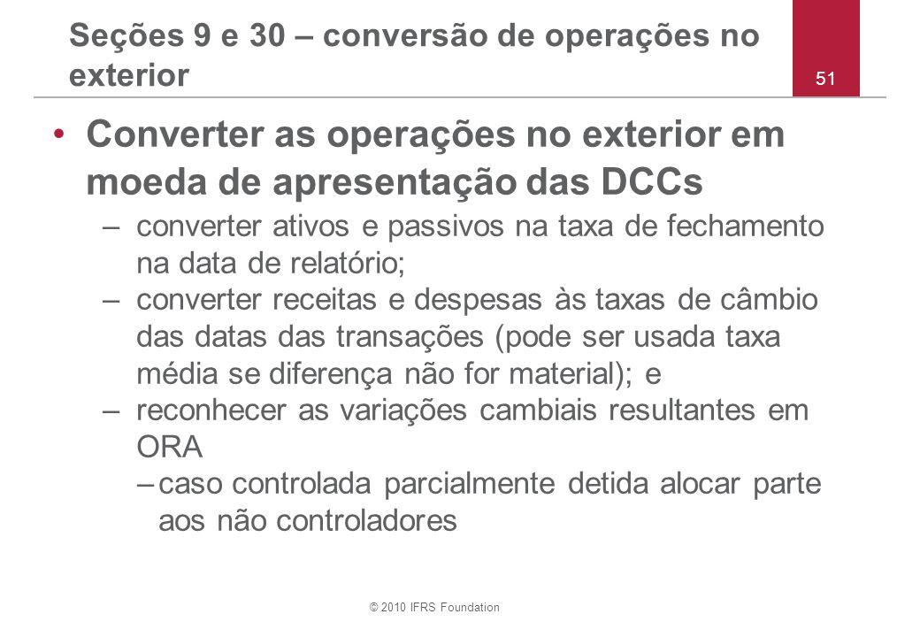 Seções 9 e 30 – conversão de operações no exterior