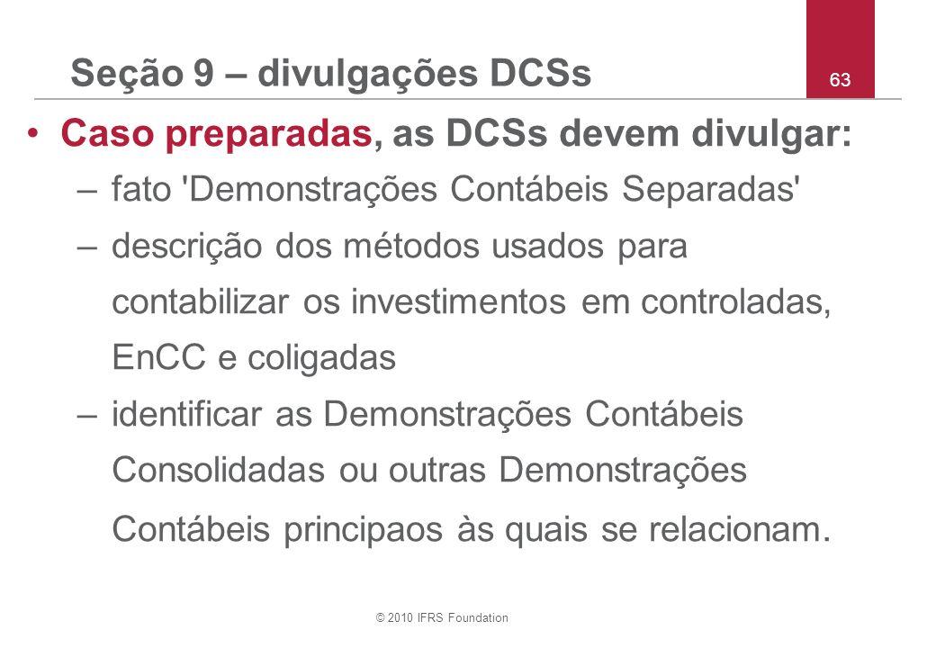 Seção 9 – divulgações DCSs
