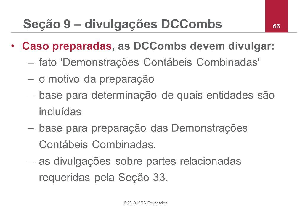 Seção 9 – divulgações DCCombs