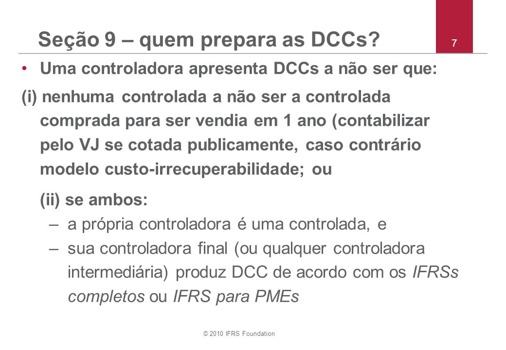 Seção 9 – quem prepara as DCCs