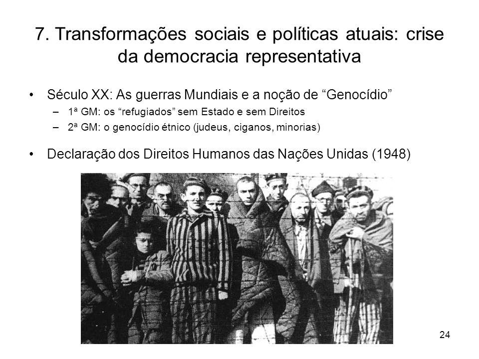 7. Transformações sociais e políticas atuais: crise da democracia representativa