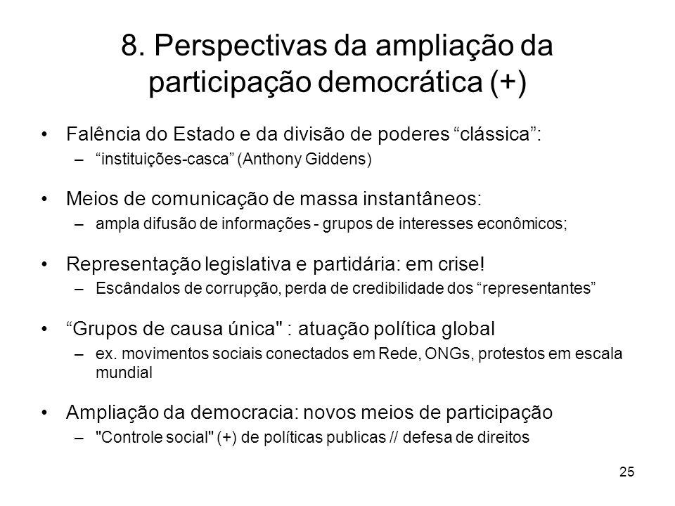 8. Perspectivas da ampliação da participação democrática (+)