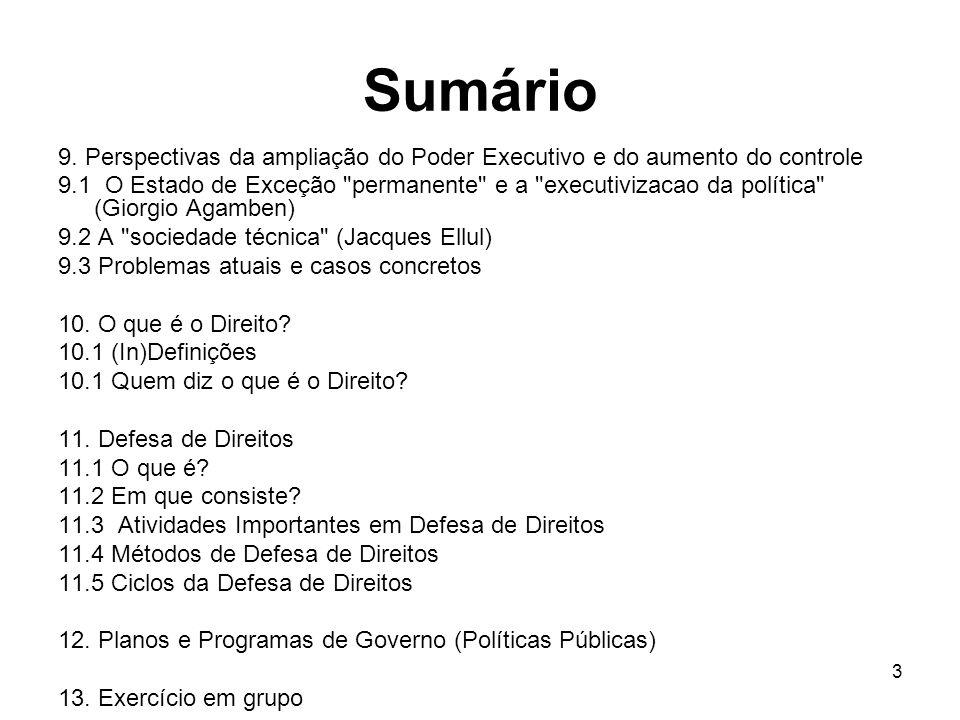 Sumário 9. Perspectivas da ampliação do Poder Executivo e do aumento do controle.
