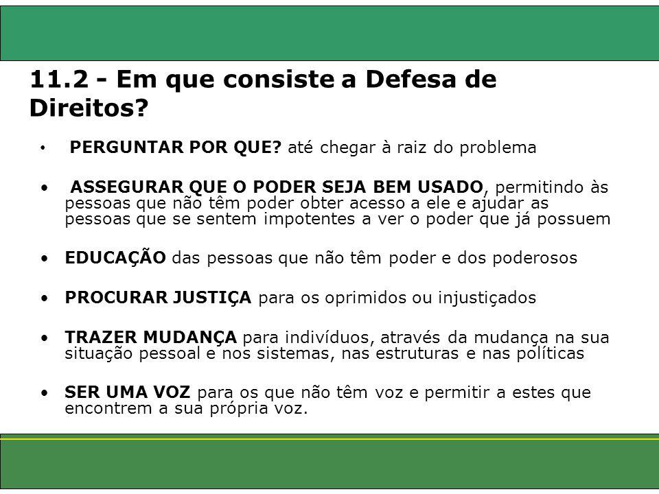 11.2 - Em que consiste a Defesa de Direitos
