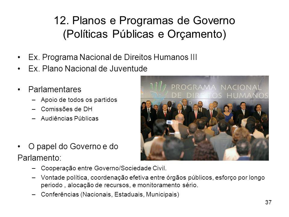 12. Planos e Programas de Governo (Políticas Públicas e Orçamento)