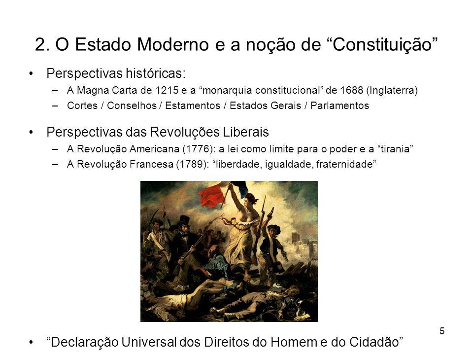2. O Estado Moderno e a noção de Constituição
