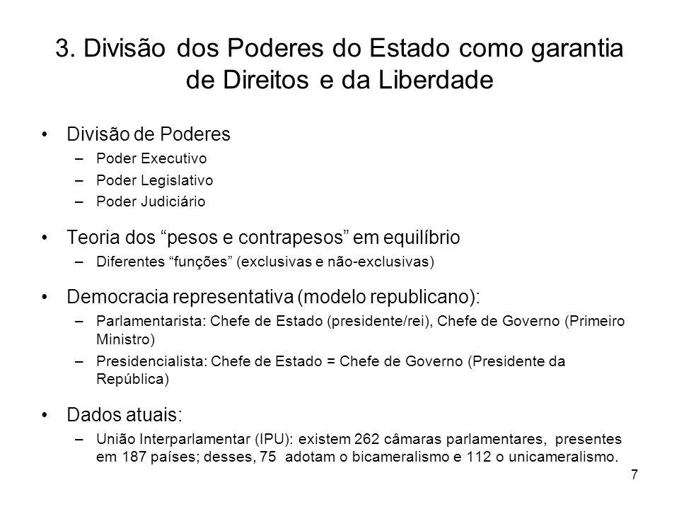 3. Divisão dos Poderes do Estado como garantia de Direitos e da Liberdade