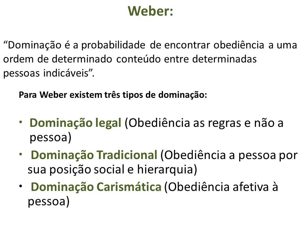 Weber: Dominação legal (Obediência as regras e não a pessoa)