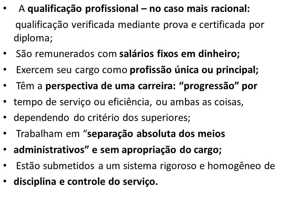 A qualificação profissional – no caso mais racional: