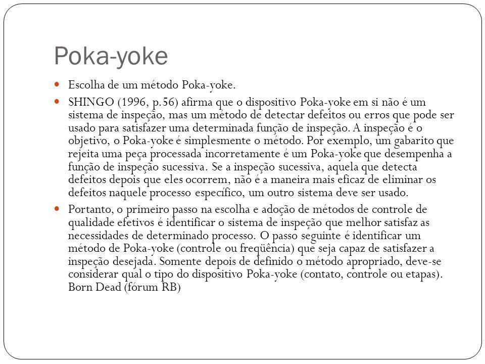 Poka-yoke Escolha de um método Poka-yoke.