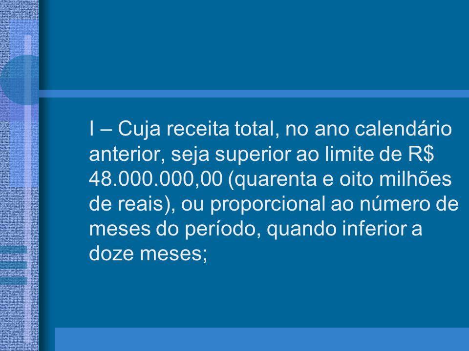 I – Cuja receita total, no ano calendário anterior, seja superior ao limite de R$ 48.000.000,00 (quarenta e oito milhões de reais), ou proporcional ao número de meses do período, quando inferior a doze meses;
