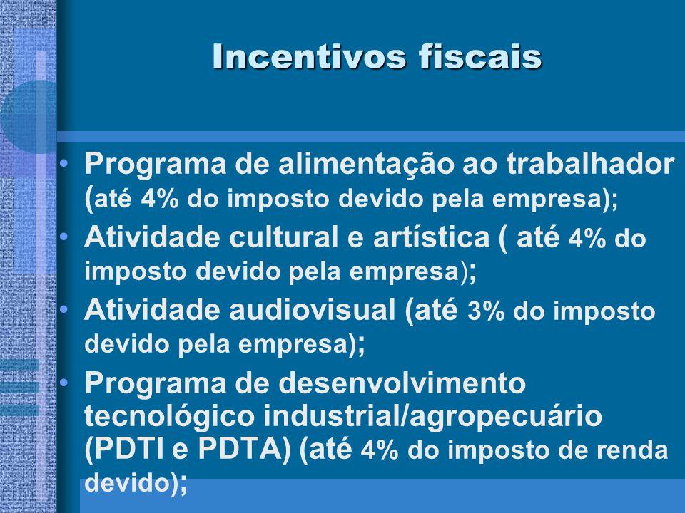 Incentivos fiscais Programa de alimentação ao trabalhador (até 4% do imposto devido pela empresa);