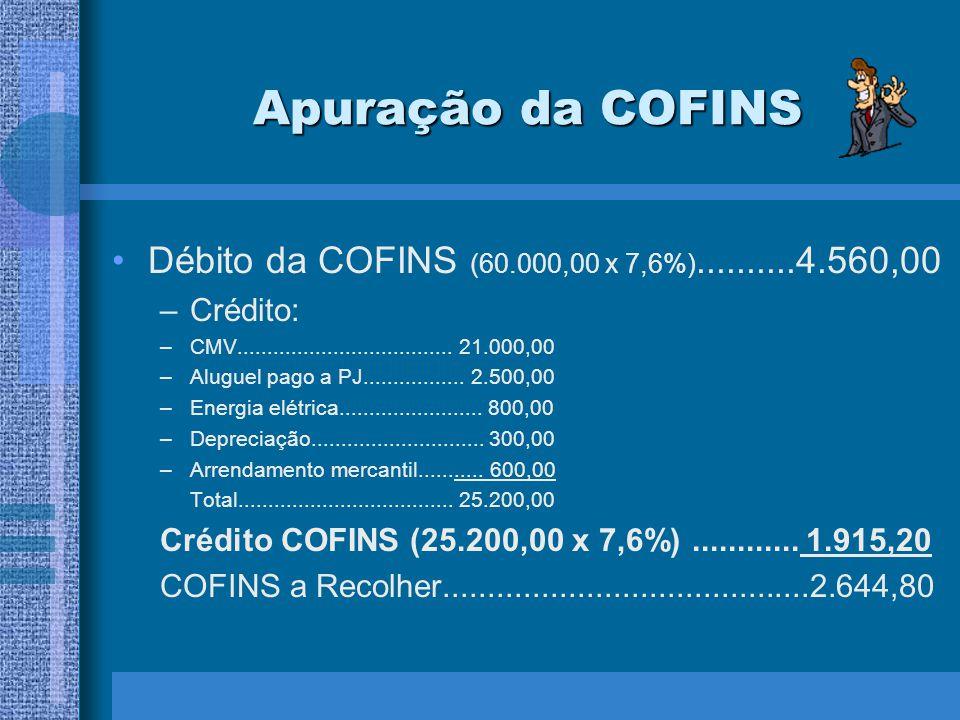 Apuração da COFINS Débito da COFINS (60.000,00 x 7,6%)..........4.560,00. Crédito: CMV.................................... 21.000,00.