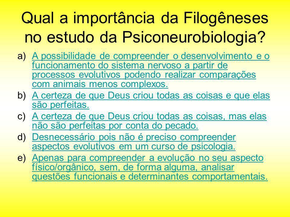 Qual a importância da Filogêneses no estudo da Psiconeurobiologia