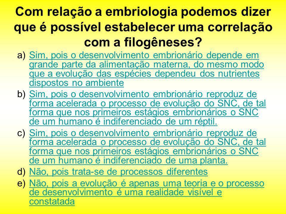 Com relação a embriologia podemos dizer que é possível estabelecer uma correlação com a filogêneses