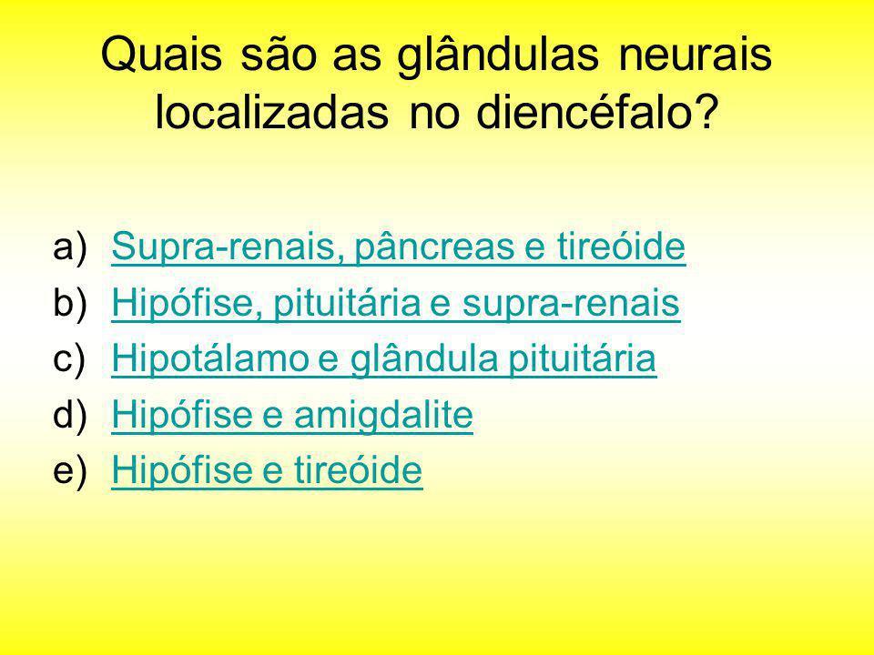 Quais são as glândulas neurais localizadas no diencéfalo