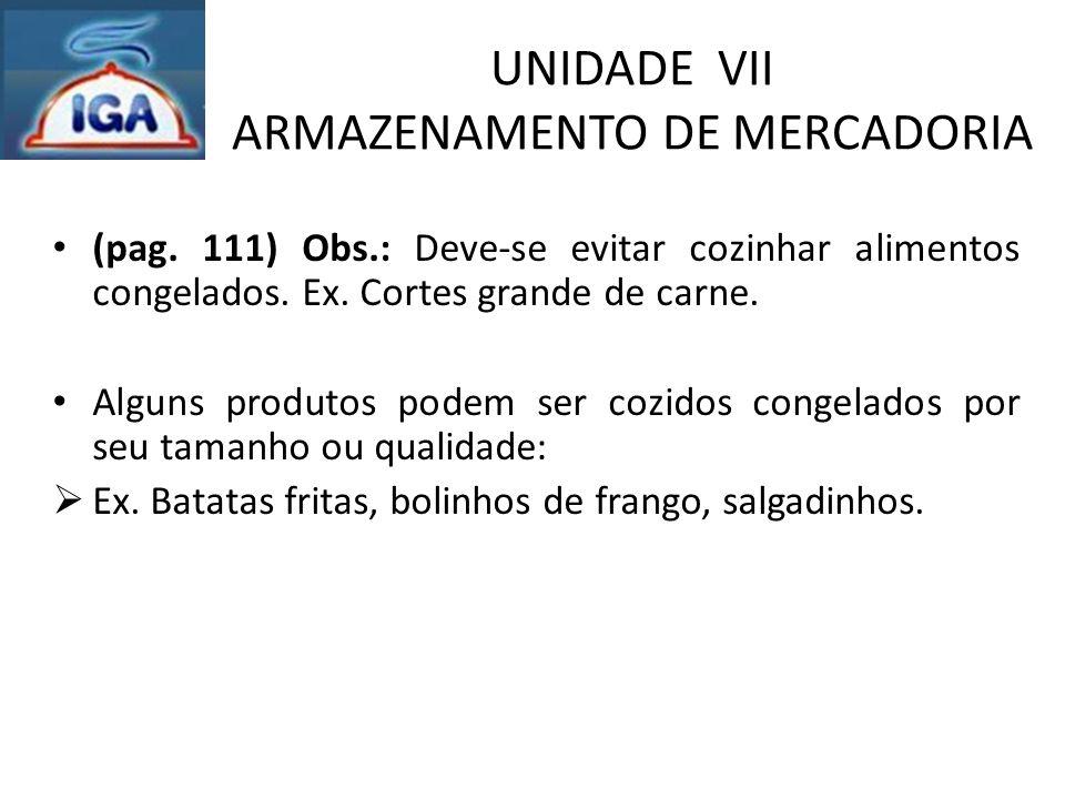 UNIDADE VII ARMAZENAMENTO DE MERCADORIA