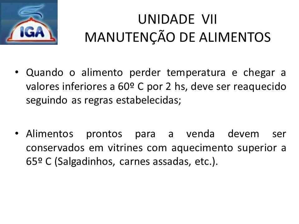 UNIDADE VII MANUTENÇÃO DE ALIMENTOS