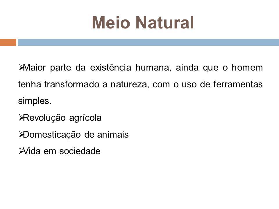 Meio Natural Maior parte da existência humana, ainda que o homem tenha transformado a natureza, com o uso de ferramentas simples.