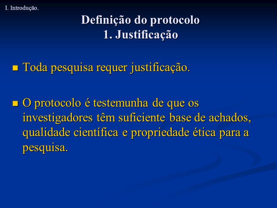 Definição do protocolo 1. Justificação