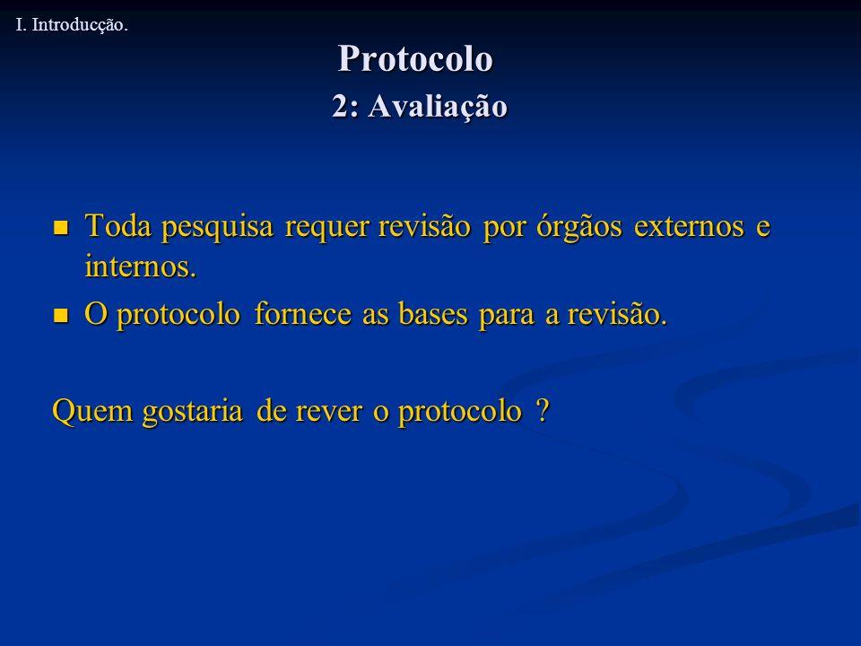 I. Introducção. Protocolo 2: Avaliação. Toda pesquisa requer revisão por órgãos externos e internos.