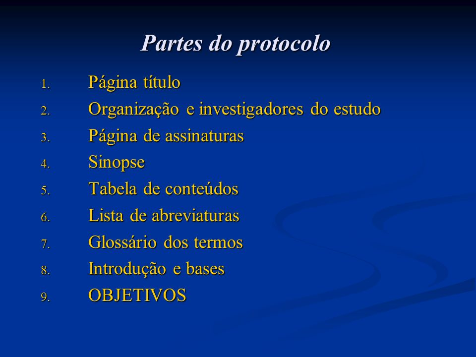 Partes do protocolo Página título