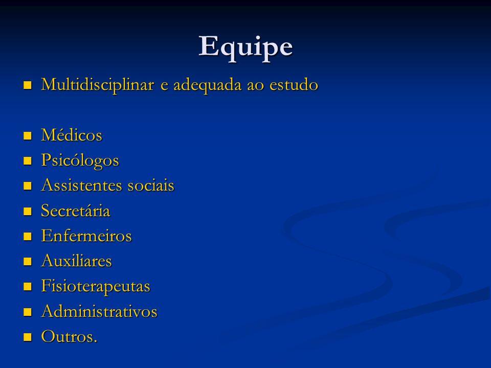 Equipe Multidisciplinar e adequada ao estudo Médicos Psicólogos