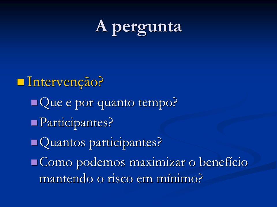 A pergunta Intervenção Que e por quanto tempo Participantes