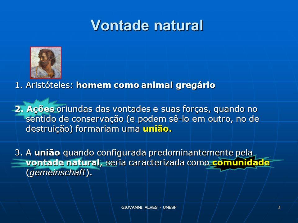 Vontade natural 1. Aristóteles: homem como animal gregário