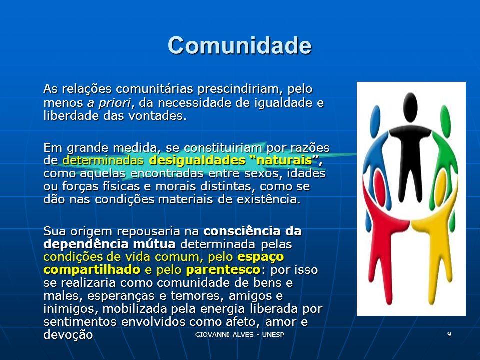 Comunidade As relações comunitárias prescindiriam, pelo menos a priori, da necessidade de igualdade e liberdade das vontades.