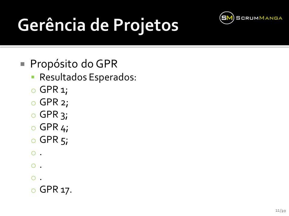 Gerência de Projetos Propósito do GPR Resultados Esperados: GPR 1;