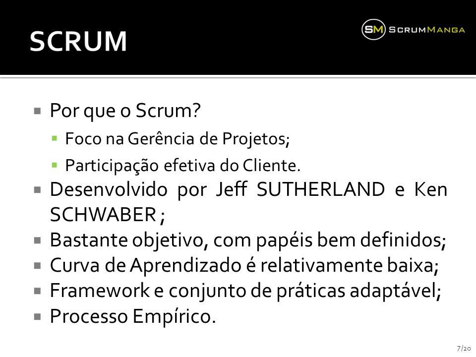 SCRUM Por que o Scrum Foco na Gerência de Projetos; Participação efetiva do Cliente. Desenvolvido por Jeff SUTHERLAND e Ken SCHWABER ;