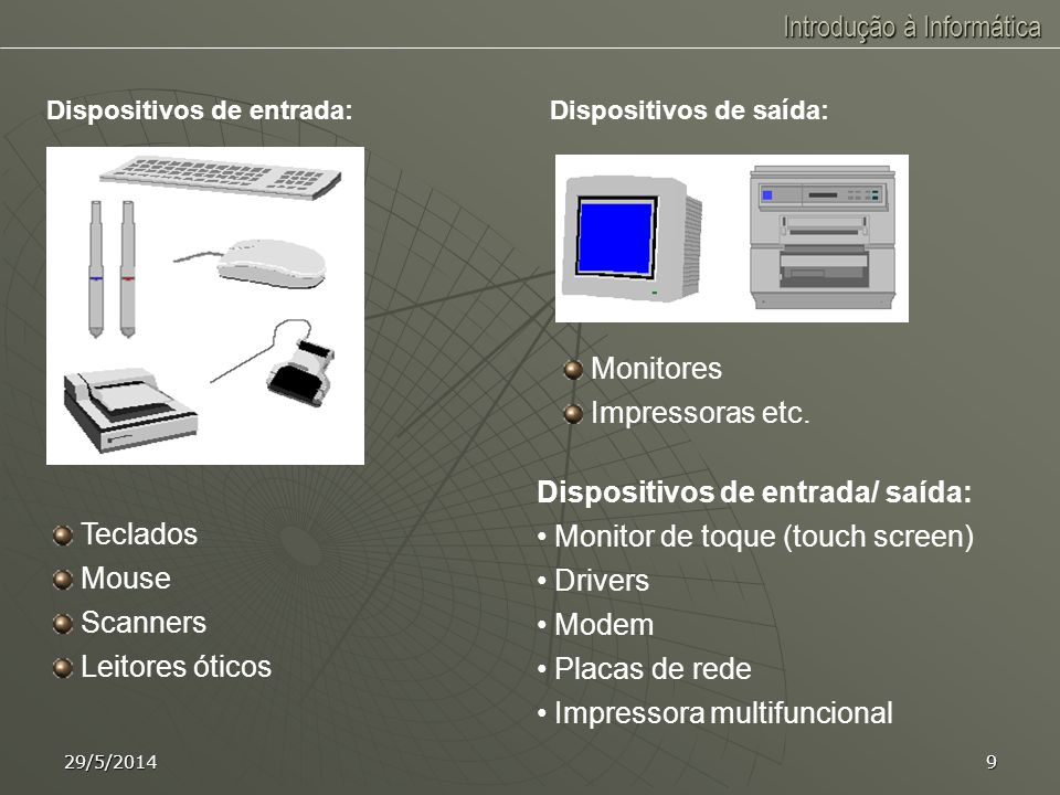 Dispositivos de entrada/ saída: Monitor de toque (touch screen)