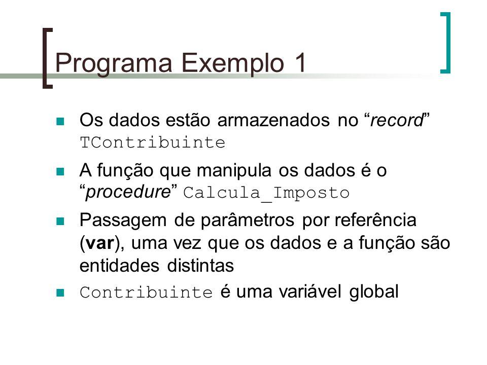 Programa Exemplo 1 Os dados estão armazenados no record TContribuinte. A função que manipula os dados é o procedure Calcula_Imposto.