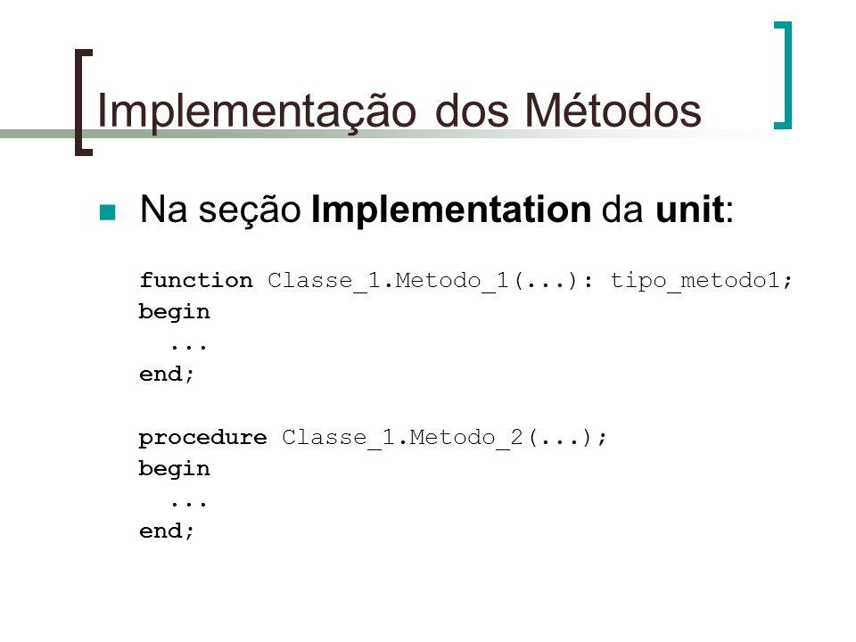 Implementação dos Métodos