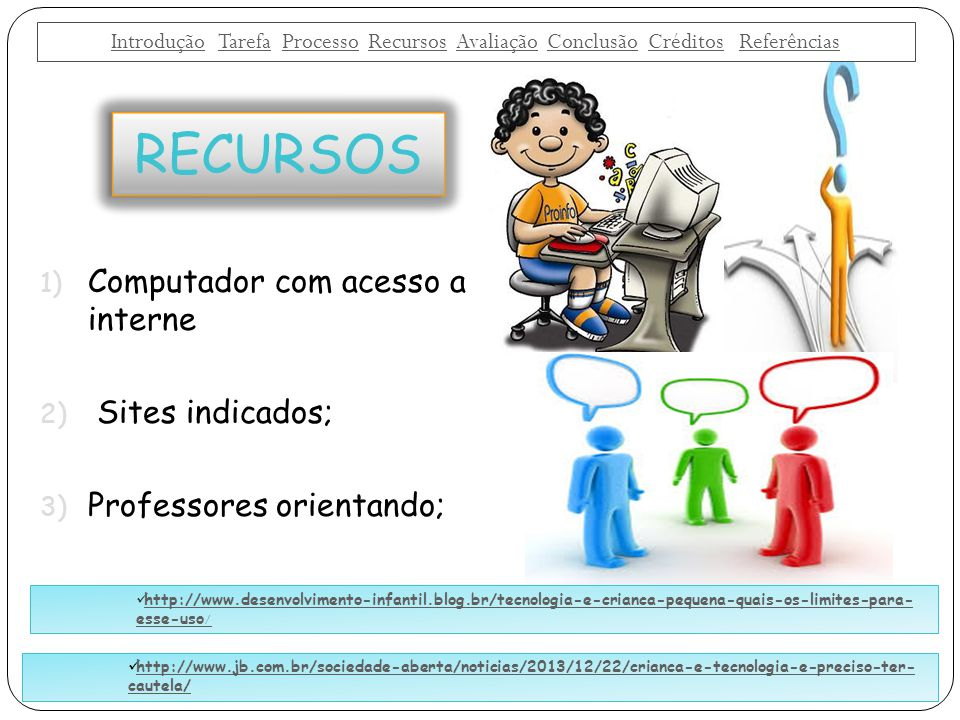 RECURSOS Computador com acesso a interne Sites indicados;