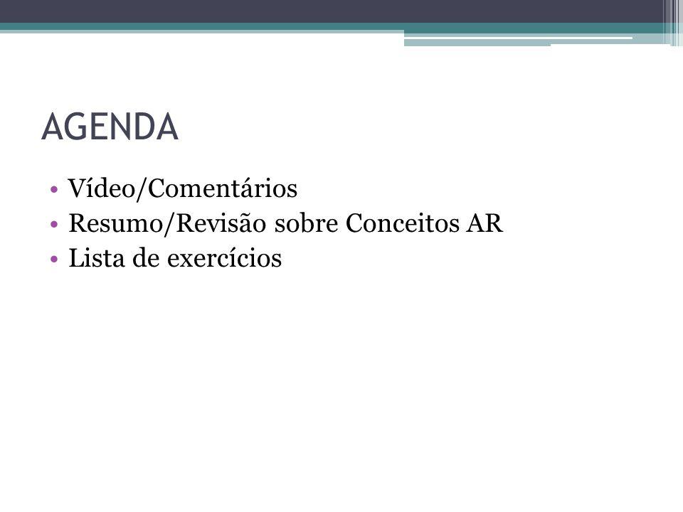 AGENDA Vídeo/Comentários Resumo/Revisão sobre Conceitos AR