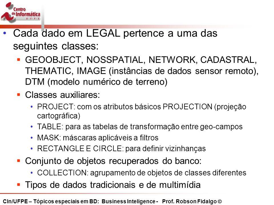 Cada dado em LEGAL pertence a uma das seguintes classes: