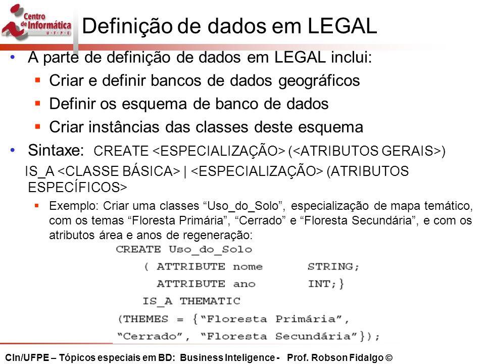 Definição de dados em LEGAL
