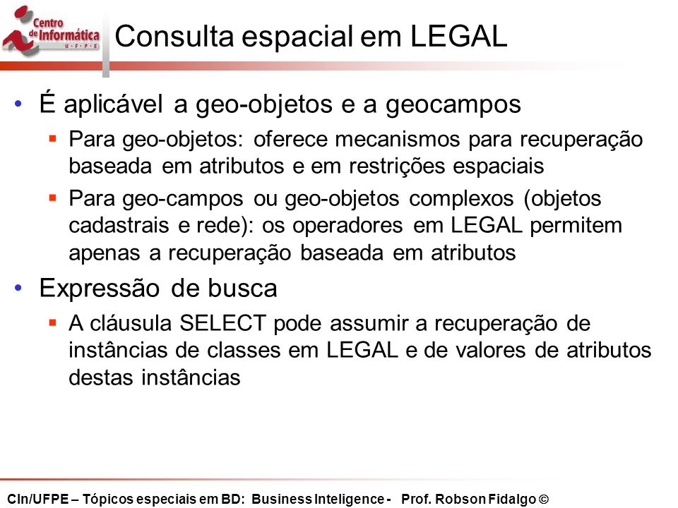Consulta espacial em LEGAL